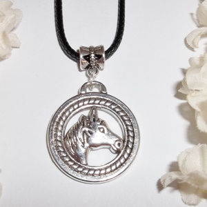 Horse Necklace Jewelry Set Silver Colt Mare 4264